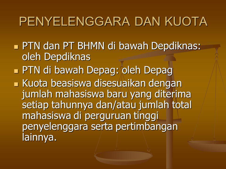 PENYELENGGARA DAN KUOTA PTN dan PT BHMN di bawah Depdiknas: oleh Depdiknas PTN dan PT BHMN di bawah Depdiknas: oleh Depdiknas PTN di bawah Depag: oleh