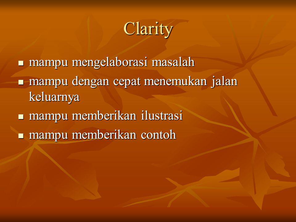 Clarity mampu mengelaborasi masalah mampu mengelaborasi masalah mampu dengan cepat menemukan jalan keluarnya mampu dengan cepat menemukan jalan keluar