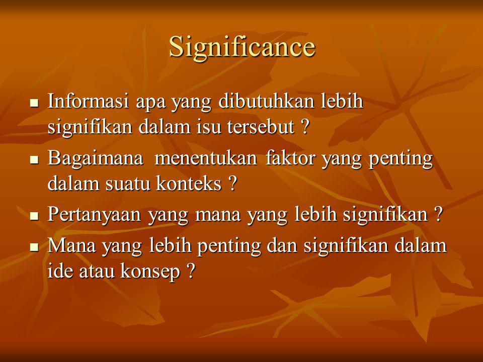 Significance Informasi apa yang dibutuhkan lebih signifikan dalam isu tersebut ? Informasi apa yang dibutuhkan lebih signifikan dalam isu tersebut ? B