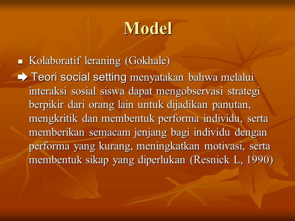 Model Kolaboratif leraning (Gokhale) Kolaboratif leraning (Gokhale) ➨ Teori social setting menyatakan bahwa melalui interaksi sosial siswa dapat mengo