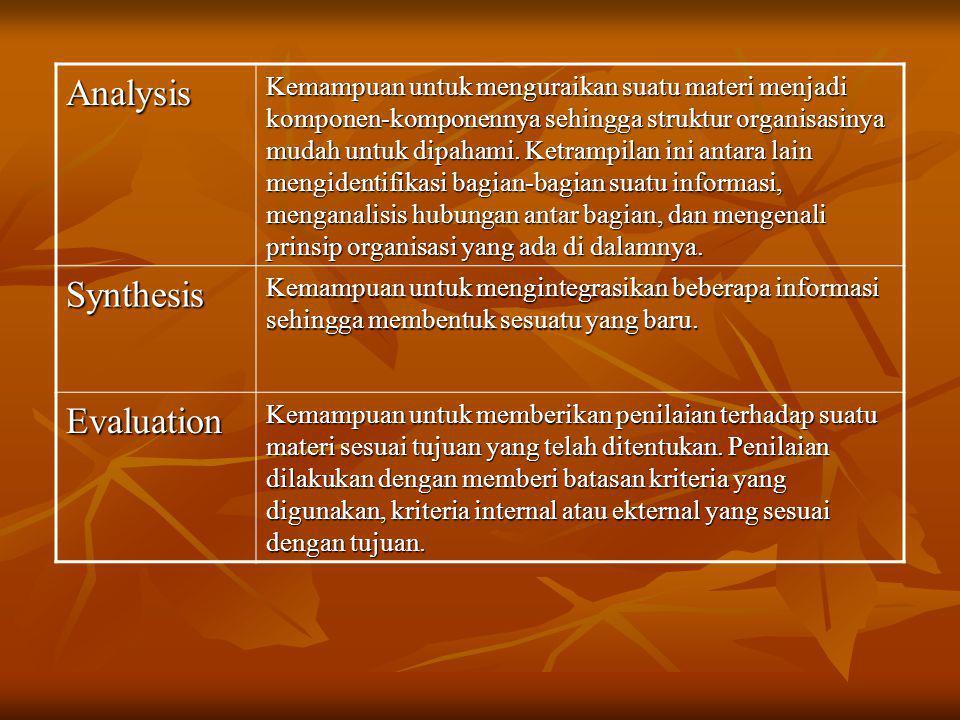 Analysis Kemampuan untuk menguraikan suatu materi menjadi komponen-komponennya sehingga struktur organisasinya mudah untuk dipahami. Ketrampilan ini a