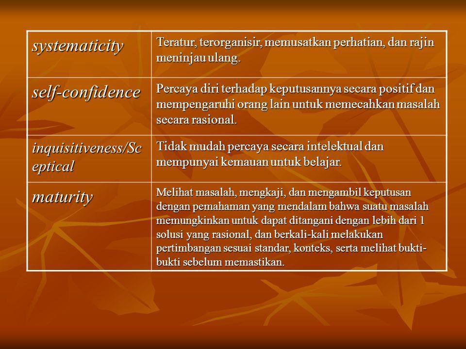 CRITICAL THINKING DIDASARKAN PADA NILAI INTELEKTUAL UNIVERSAL : Kejelasan (Clarity) Kejelasan (Clarity) Keakuratan (Accuracy) Keakuratan (Accuracy) Ketepatan (Precision) Ketepatan (Precision) Konsistensi (Consistency) Konsistensi (Consistency) Relevansi (Relevance) Relevansi (Relevance) Bermakna (Significance) Bermakna (Significance) Alasan yang logis (Logicalness) Alasan yang logis (Logicalness) Kedalaman (Depth) Kedalaman (Depth) Keluasan (Breadth) Keluasan (Breadth) Keadilan (Fairness) Keadilan (Fairness)
