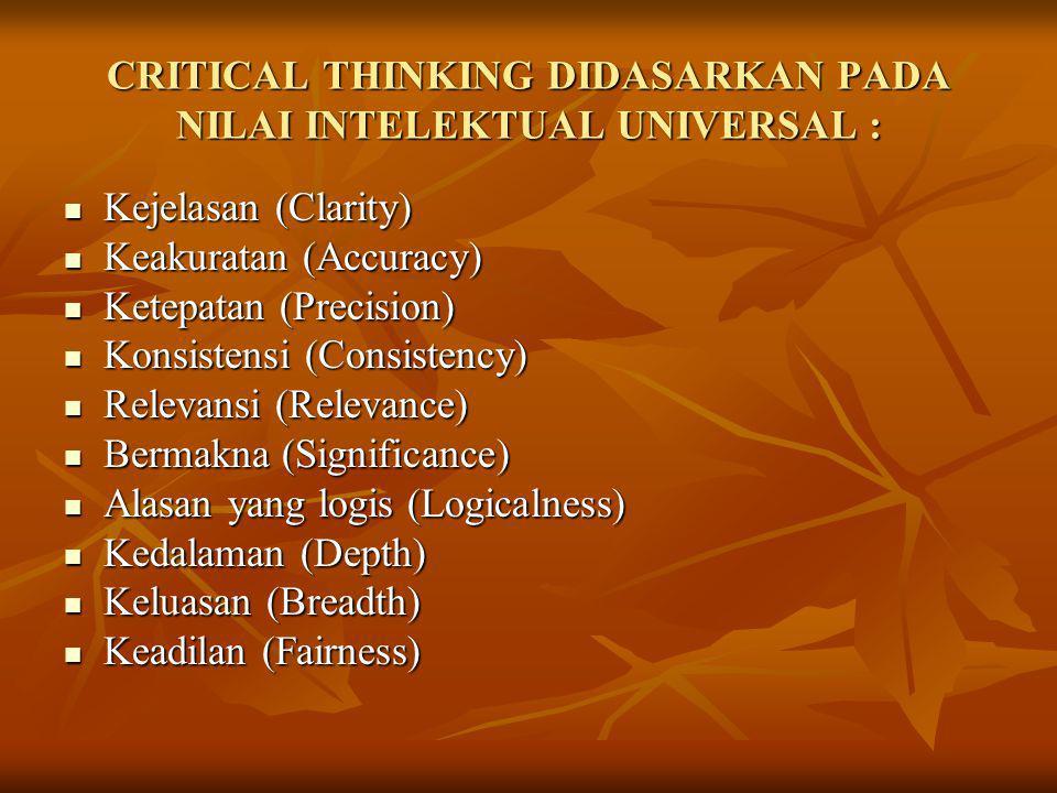CRITICAL THINKING DIDASARKAN PADA NILAI INTELEKTUAL UNIVERSAL : Kejelasan (Clarity) Kejelasan (Clarity) Keakuratan (Accuracy) Keakuratan (Accuracy) Ke