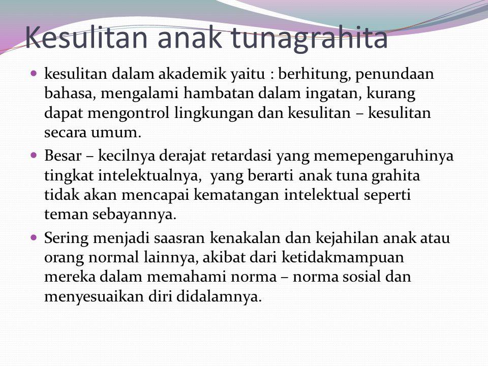 Kesulitan anak tunagrahita kesulitan dalam akademik yaitu : berhitung, penundaan bahasa, mengalami hambatan dalam ingatan, kurang dapat mengontrol lin
