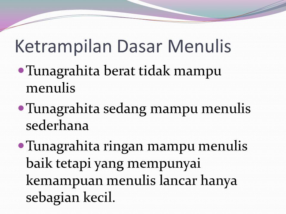 Ketrampilan Dasar Menulis Tunagrahita berat tidak mampu menulis Tunagrahita sedang mampu menulis sederhana Tunagrahita ringan mampu menulis baik tetapi yang mempunyai kemampuan menulis lancar hanya sebagian kecil.