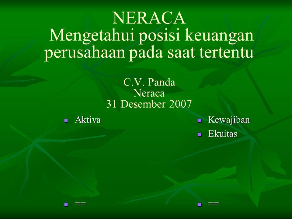 NERACA Mengetahui posisi keuangan perusahaan pada saat tertentu C.V. Panda Neraca 31 Desember 2007 Aktiva Aktiva == == Kewajiban Kewajiban Ekuitas Eku