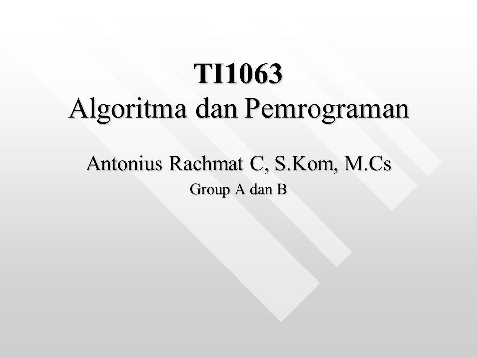 Algoritma & Pemrograman SKS: 3 SKSSKS: 3 SKS Dosen: Antonius Rachmat C, S.Kom, M.CsDosen: Antonius Rachmat C, S.Kom, M.Cs Email: anton@ti,ukdw.ac.idEmail: anton@ti,ukdw.ac.idanton@ti,ukdw.ac.idanton@ti,ukdw.ac.id Website: http://lecturer.ukdw.ac.id/antonWebsite: http://lecturer.ukdw.ac.id/antonhttp://lecturer.ukdw.ac.id/anton YM: antonie_ooYM: antonie_oo Jadwal Kuliah Kelas::Jadwal Kuliah Kelas:: Group D: Kamis, 7.30Group D: Kamis, 7.30 Group E: Kamis, 10.30Group E: Kamis, 10.30 Ruang: H.23Ruang: H.23 Jadwal Kuliah Praktikum (2x seminggu) mengikuti jadwal masing-masing.