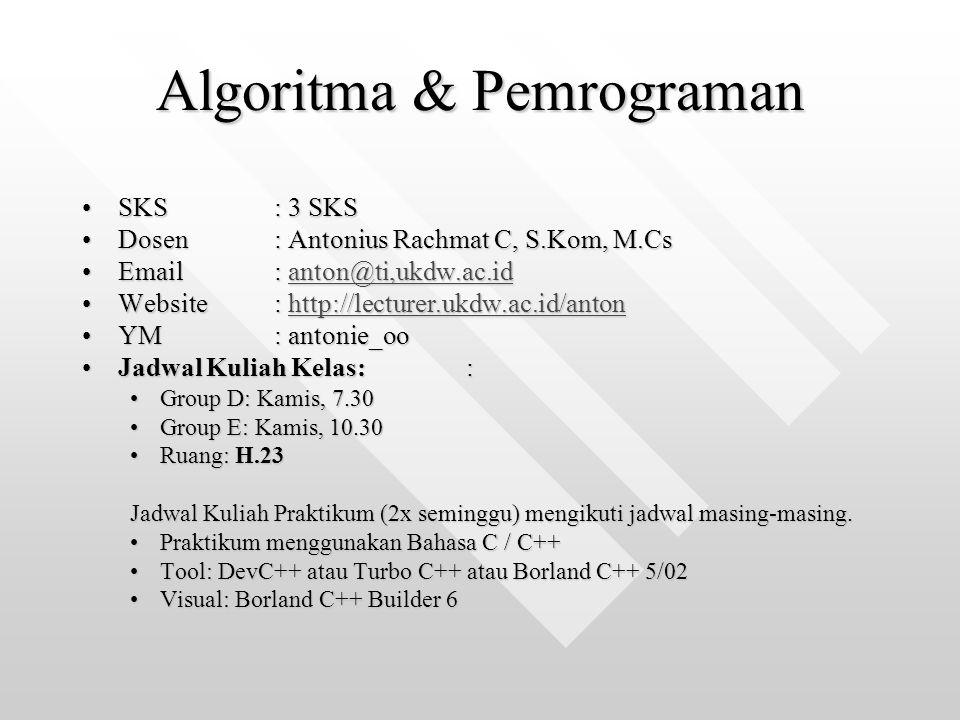 Kompetensi Matakuliah Mahasiswa mampu:Mahasiswa mampu: menjelaskan logika berpikir komputer,menjelaskan logika berpikir komputer, menjelaskan alasan-alasan komputer dapat mengerjakan perintah-perintah yang diberikan,menjelaskan alasan-alasan komputer dapat mengerjakan perintah-perintah yang diberikan, menjelaskan prinsip kerja program,menjelaskan prinsip kerja program, menggambarkan logika jalannya program secara tertulis dengan algoritma (pseudo code) dan dilengkapi dengan diagram alir (flow chart) menggunakan suatu bahasa pemrograman tertentumenggambarkan logika jalannya program secara tertulis dengan algoritma (pseudo code) dan dilengkapi dengan diagram alir (flow chart) menggunakan suatu bahasa pemrograman tertentu membuat program sederhana dengan bahasa Cmembuat program sederhana dengan bahasa C