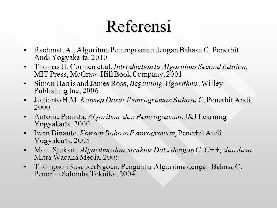 Referensi Rachmat, A., Algoritma Pemrograman dengan Bahasa C, Penerbit Andi Yogyakarta, 2010Rachmat, A., Algoritma Pemrograman dengan Bahasa C, Penerb
