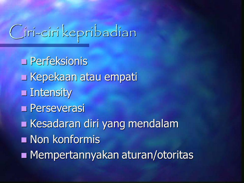 Ciri-ciri kepribadian Perfeksionis Perfeksionis Kepekaan atau empati Kepekaan atau empati Intensity Intensity Perseverasi Perseverasi Kesadaran diri y