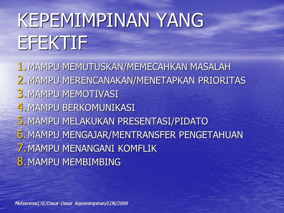 KEPEMIMPINAN YANG EFEKTIF 1. MAMPU MEMUTUSKAN/MEMECAHKAN MASALAH 2. MAMPU MERENCANAKAN/MENETAPKAN PRIORITAS 3. MAMPU MEMOTIVASI 4. MAMPU BERKOMUNIKASI