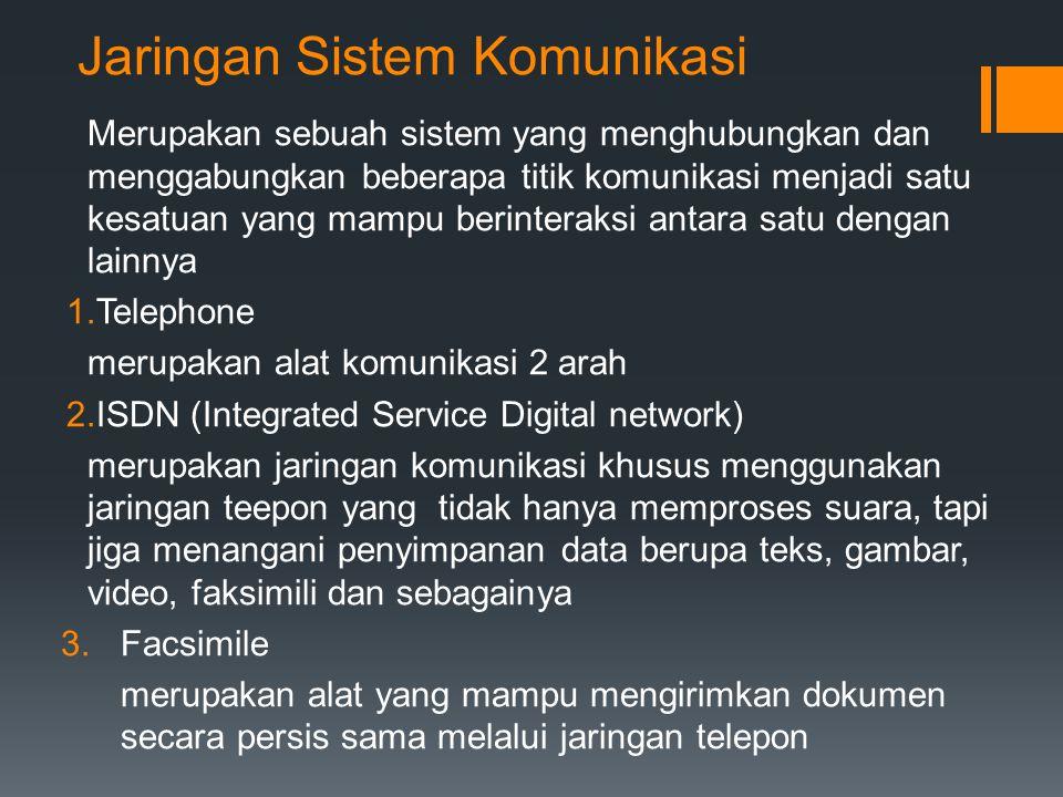 4.Fiber Optic merupakan jaringan komunikasi yang mampu mentransmisikan data dalam frekuensi tinggi 5.Leased Line merupakan jaringan telepon tetap yang menghubungkan dua tempat atau lebih 6.Wireless merupakan jaringan komunikasi nir kabel 7.Jaringan komunikasi dengan satelit merupakan jaringan komunikasi tanpa kabel yang menggunakan satelit yang berfungsi sebagai pemancar, penerima dan penguat 8.Antena, TV, dan radio, seluler antena merupakan alat untuk memancarkan dan menerima komunikasi 9.Komunikasi Selular merupakan komunikasi yang menggunakan transmisi radio untuk mengirimkan sinyal informasi