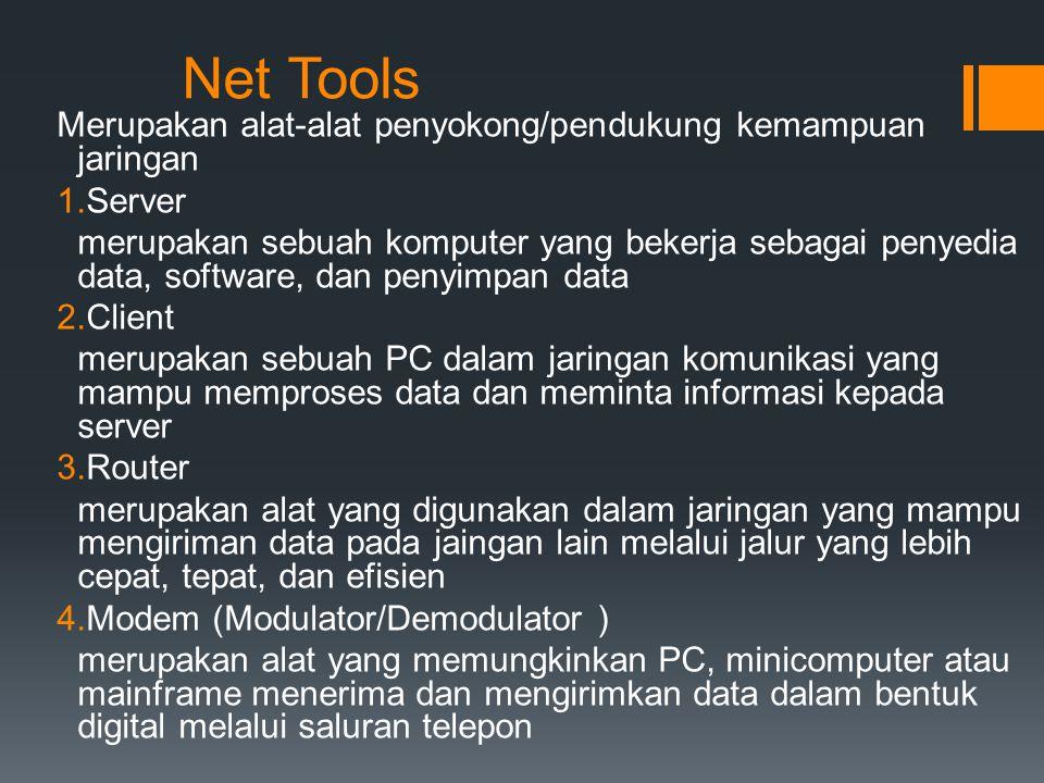 Net Tools Merupakan alat-alat penyokong/pendukung kemampuan jaringan 1.Server merupakan sebuah komputer yang bekerja sebagai penyedia data, software,