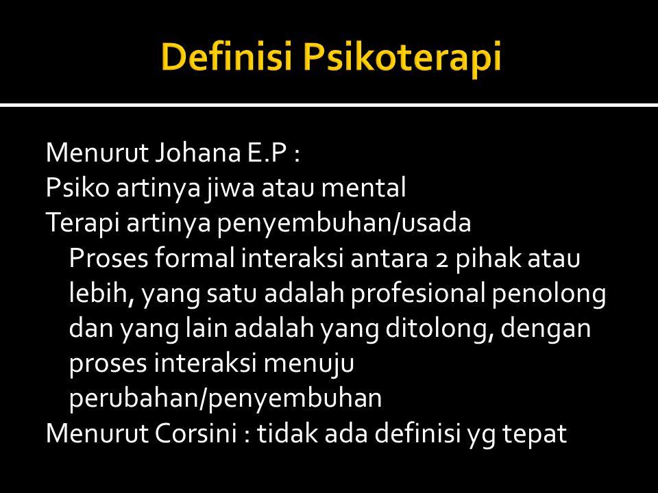 Menurut Johana E.P : Psiko artinya jiwa atau mental Terapi artinya penyembuhan/usada Proses formal interaksi antara 2 pihak atau lebih, yang satu adal