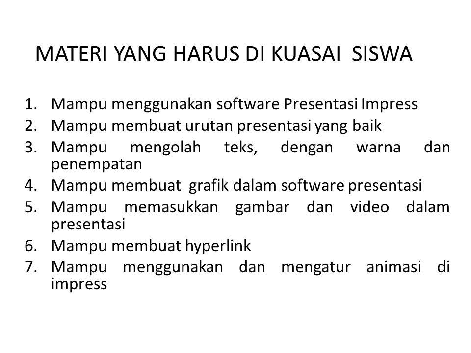 MATERI YANG HARUS DI KUASAI SISWA 1.Mampu menggunakan software Presentasi Impress 2.Mampu membuat urutan presentasi yang baik 3.Mampu mengolah teks, d