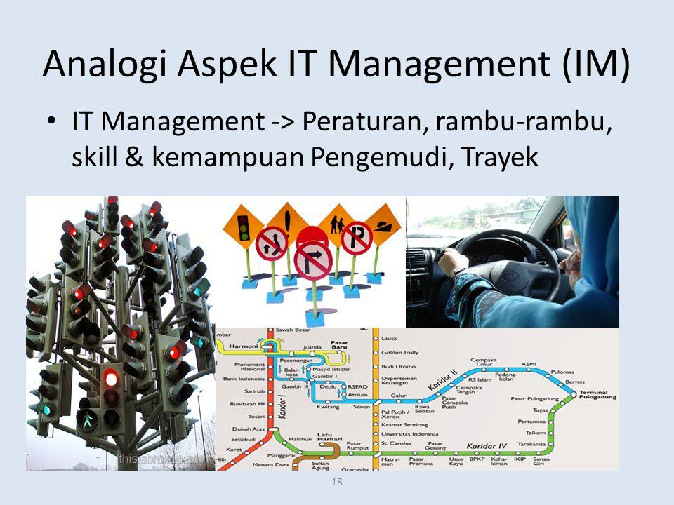 Analogi Aspek IT Management (IM) IT Management -> Peraturan, rambu-rambu, skill & kemampuan Pengemudi, Trayek 18