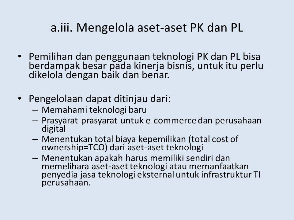 a.iii. Mengelola aset-aset PK dan PL Pemilihan dan penggunaan teknologi PK dan PL bisa berdampak besar pada kinerja bisnis, untuk itu perlu dikelola d