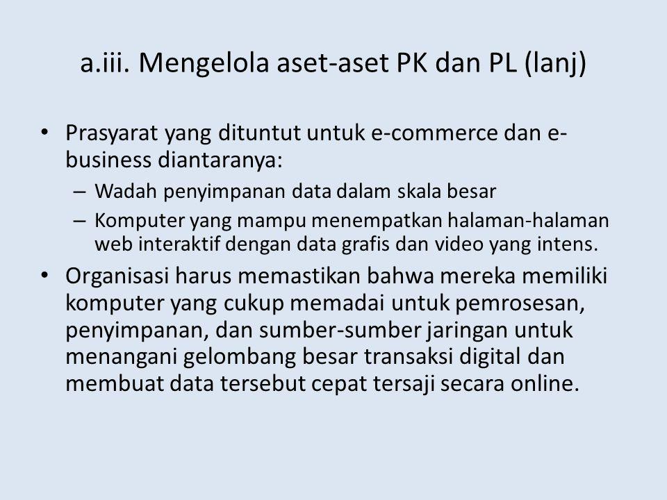 a.iii. Mengelola aset-aset PK dan PL (lanj) Prasyarat yang dituntut untuk e-commerce dan e- business diantaranya: – Wadah penyimpanan data dalam skala