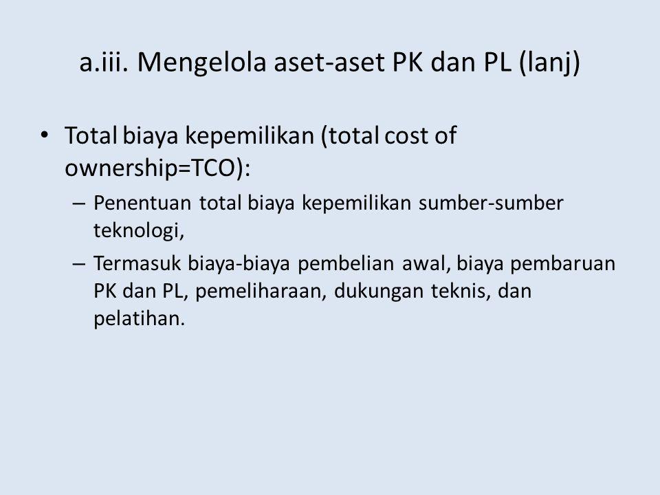 a.iii. Mengelola aset-aset PK dan PL (lanj) Total biaya kepemilikan (total cost of ownership=TCO): – Penentuan total biaya kepemilikan sumber-sumber t