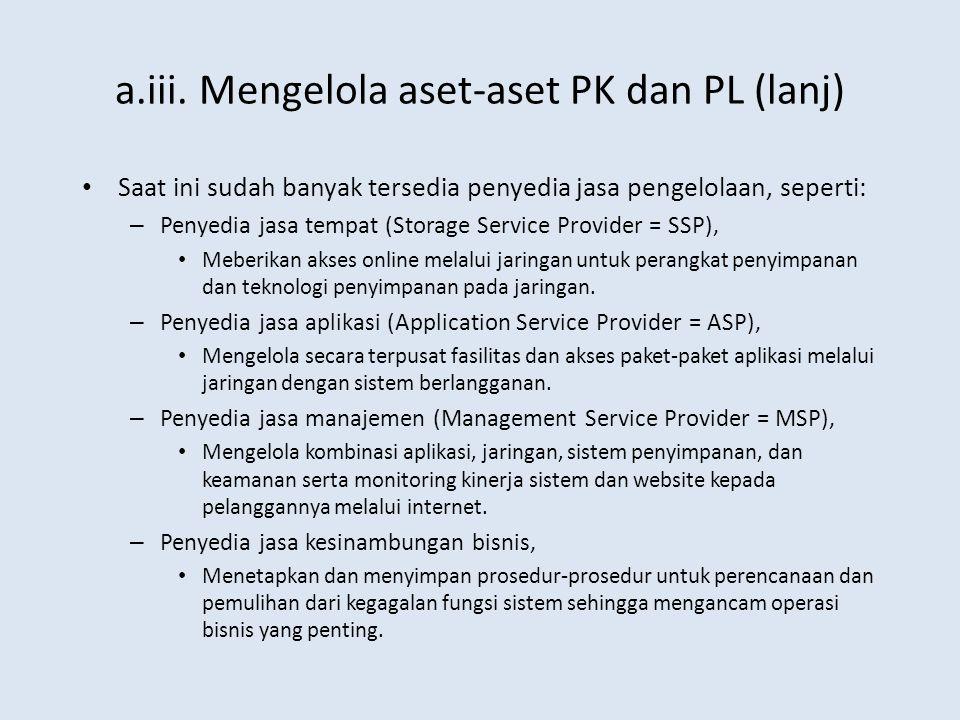 a.iii. Mengelola aset-aset PK dan PL (lanj) Saat ini sudah banyak tersedia penyedia jasa pengelolaan, seperti: – Penyedia jasa tempat (Storage Service