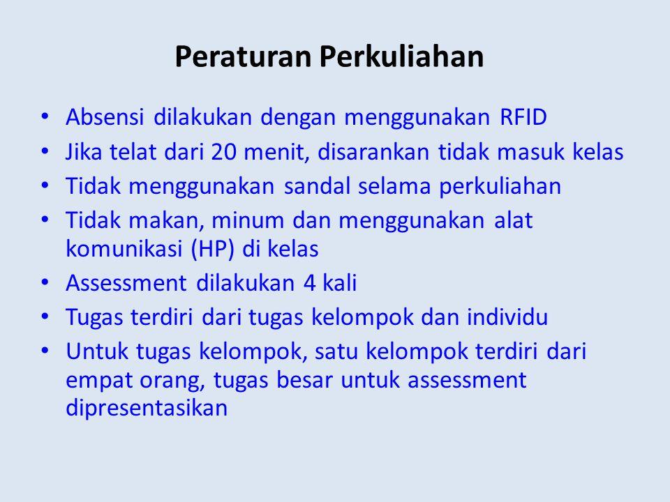 Peraturan Perkuliahan Absensi dilakukan dengan menggunakan RFID Jika telat dari 20 menit, disarankan tidak masuk kelas Tidak menggunakan sandal selama