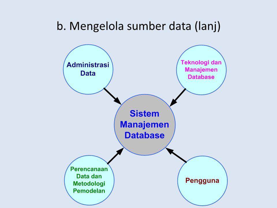b. Mengelola sumber data (lanj)