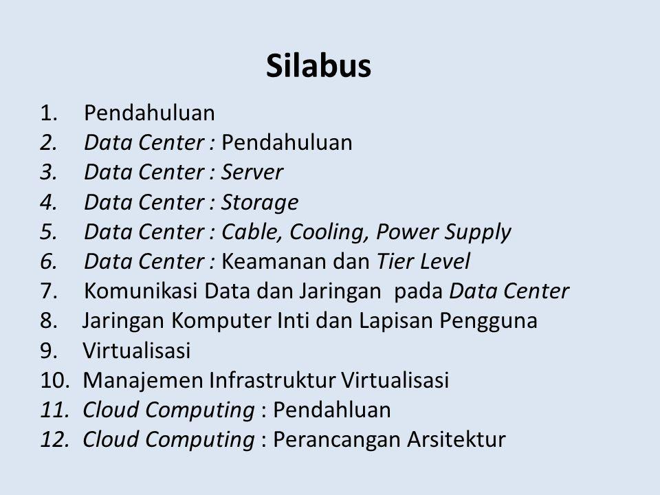 Silabus 1.Pendahuluan 2.Data Center : Pendahuluan 3.Data Center : Server 4.Data Center : Storage 5.Data Center : Cable, Cooling, Power Supply 6.Data C