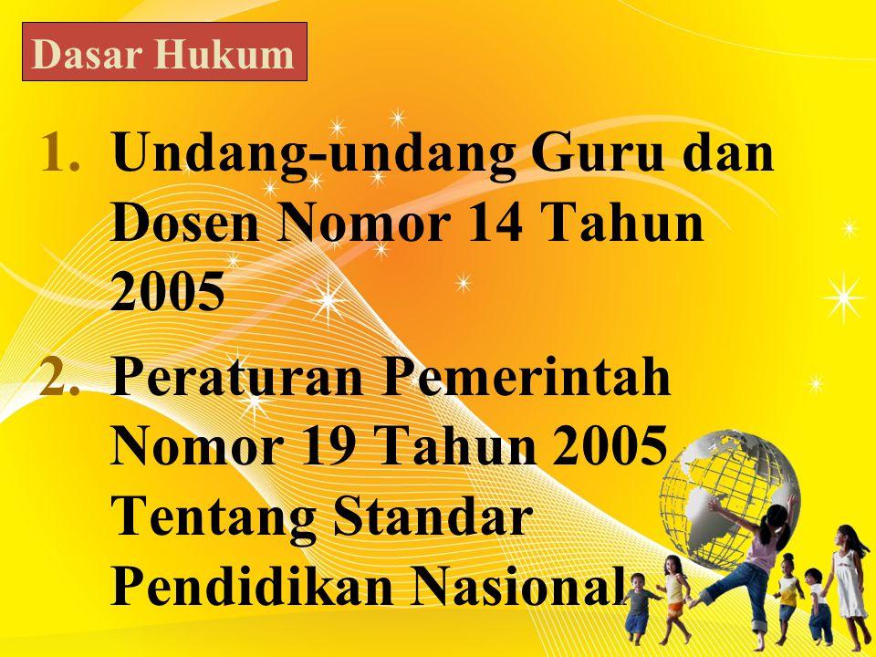 1.Undang-undang Guru dan Dosen Nomor 14 Tahun 2005 2.Peraturan Pemerintah Nomor 19 Tahun 2005 Tentang Standar Pendidikan Nasional Dasar Hukum