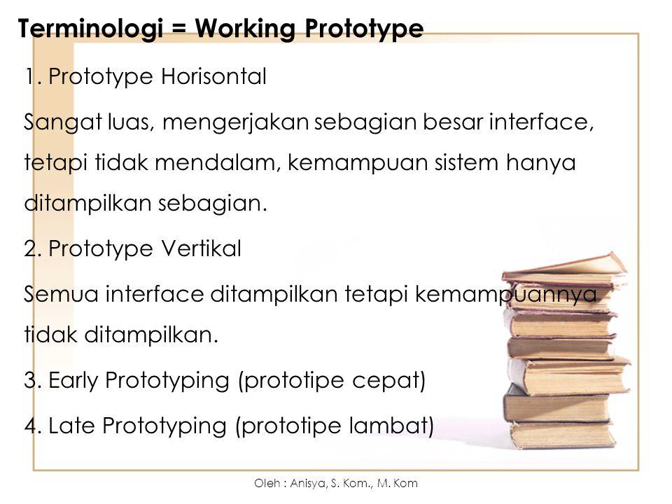 Terminologi = Working Prototype 1. Prototype Horisontal Sangat luas, mengerjakan sebagian besar interface, tetapi tidak mendalam, kemampuan sistem han