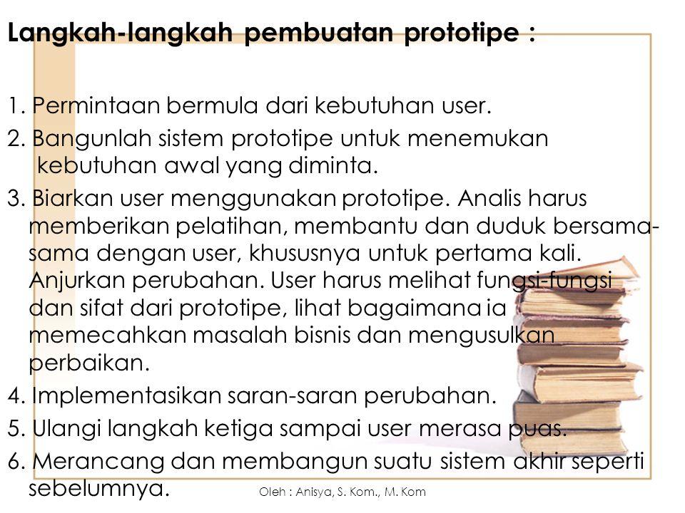 Langkah-langkah pembuatan prototipe : 1. Permintaan bermula dari kebutuhan user. 2. Bangunlah sistem prototipe untuk menemukan kebutuhan awal yang dim