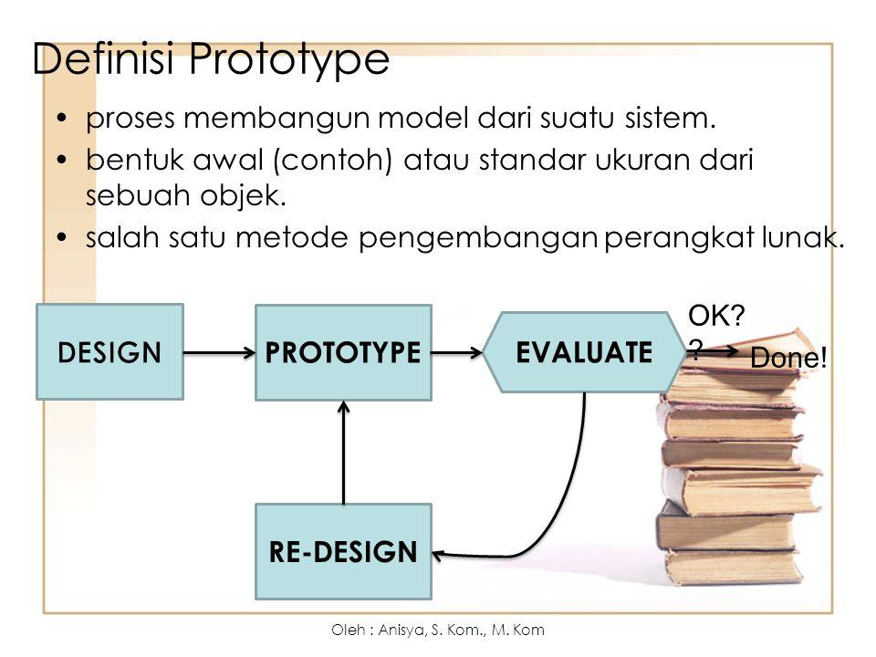 Definisi Prototype proses membangun model dari suatu sistem. bentuk awal (contoh) atau standar ukuran dari sebuah objek. salah satu metode pengembanga