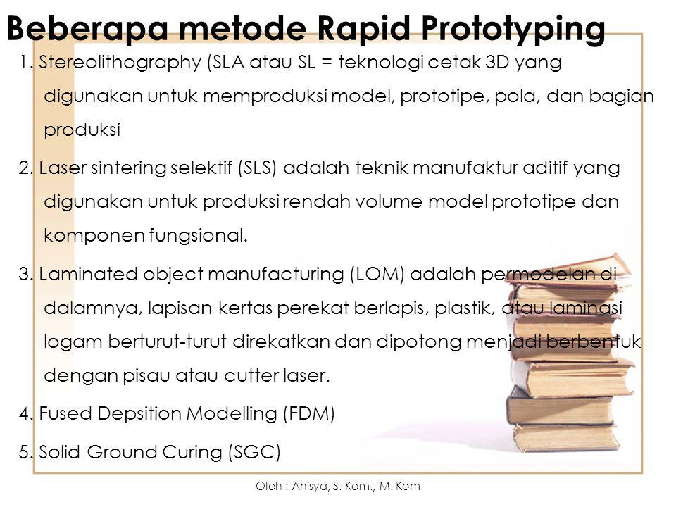 Beberapa metode Rapid Prototyping 1. Stereolithography (SLA atau SL = teknologi cetak 3D yang digunakan untuk memproduksi model, prototipe, pola, dan