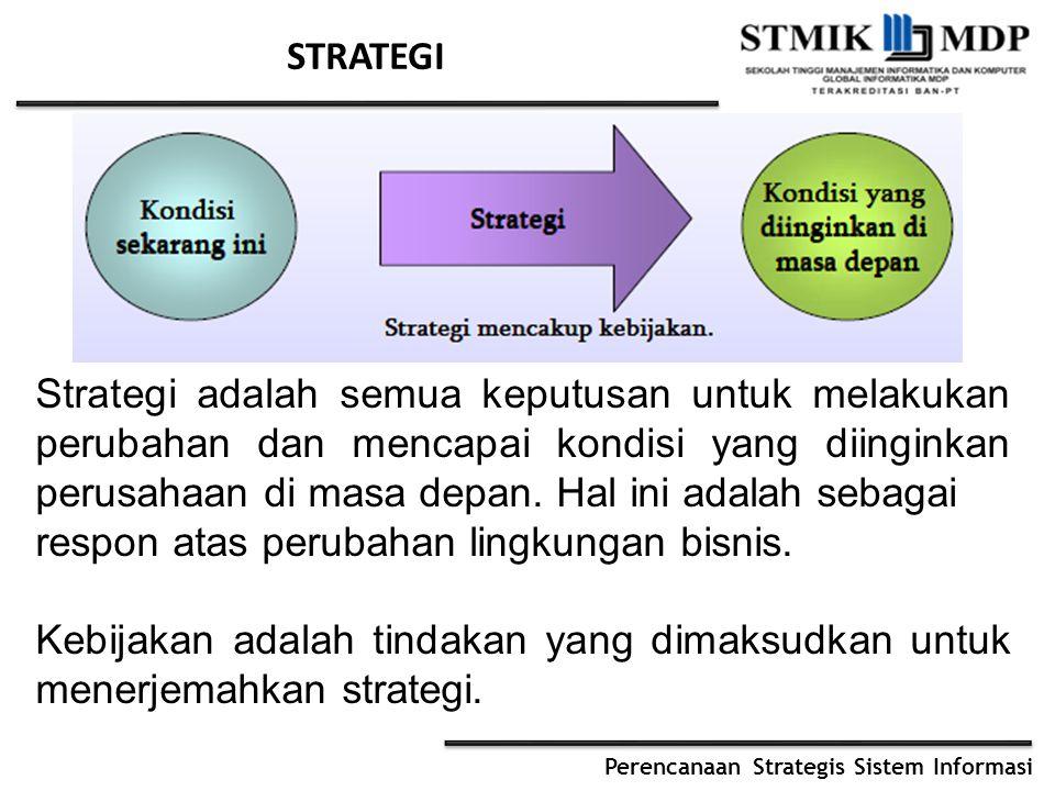 Perencanaan Strategis Sistem Informasi STRATEGI Strategi adalah semua keputusan untuk melakukan perubahan dan mencapai kondisi yang diinginkan perusahaan di masa depan.