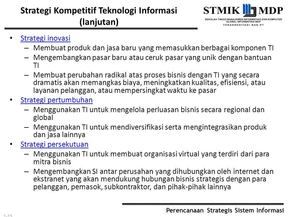 Perencanaan Strategis Sistem Informasi Strategi Kompetitif Teknologi Informasi (lanjutan) Strategi inovasi – Membuat produk dan jasa baru yang memasuk