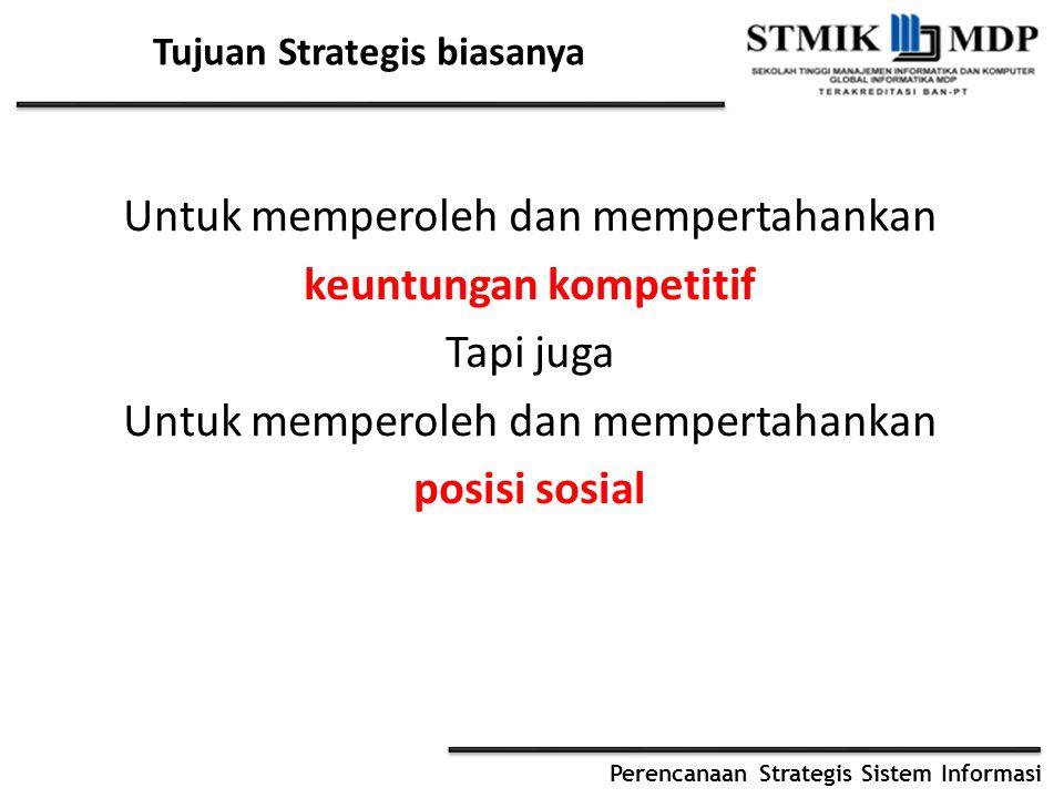 Perencanaan Strategis Sistem Informasi Tujuan Strategis biasanya Untuk memperoleh dan mempertahankan keuntungan kompetitif Tapi juga Untuk memperoleh dan mempertahankan posisi sosial