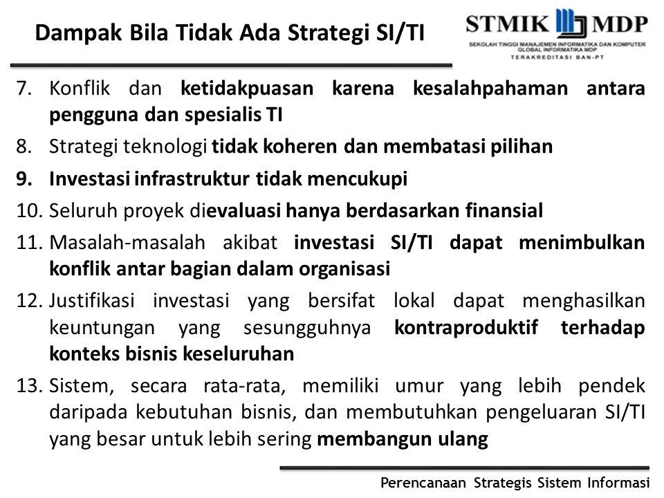 Perencanaan Strategis Sistem Informasi 7.Konflik dan ketidakpuasan karena kesalahpahaman antara pengguna dan spesialis TI 8.Strategi teknologi tidak koheren dan membatasi pilihan 9.Investasi infrastruktur tidak mencukupi 10.Seluruh proyek dievaluasi hanya berdasarkan finansial 11.Masalah-masalah akibat investasi SI/TI dapat menimbulkan konflik antar bagian dalam organisasi 12.Justifikasi investasi yang bersifat lokal dapat menghasilkan keuntungan yang sesungguhnya kontraproduktif terhadap konteks bisnis keseluruhan 13.Sistem, secara rata-rata, memiliki umur yang lebih pendek daripada kebutuhan bisnis, dan membutuhkan pengeluaran SI/TI yang besar untuk lebih sering membangun ulang Dampak Bila Tidak Ada Strategi SI/TI