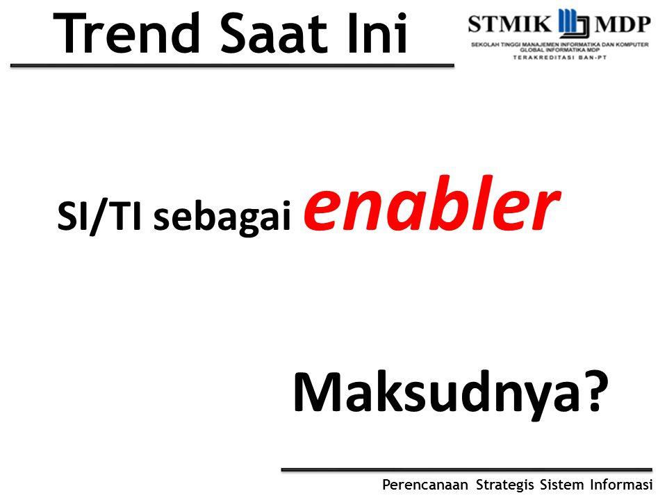 Perencanaan Strategis Sistem Informasi Trend Saat Ini SI/TI sebagai enabler Maksudnya?