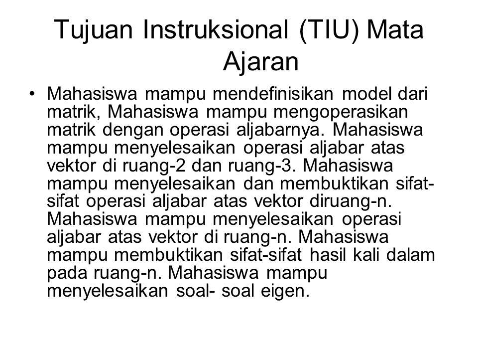 Tujuan Instruksional (TIU) Mata Ajaran Mahasiswa mampu mendefinisikan model dari matrik, Mahasiswa mampu mengoperasikan matrik dengan operasi aljabarn