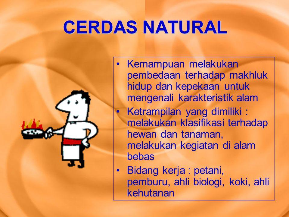 CERDAS NATURAL Kemampuan melakukan pembedaan terhadap makhluk hidup dan kepekaan untuk mengenali karakteristik alam Ketrampilan yang dimiliki : melaku