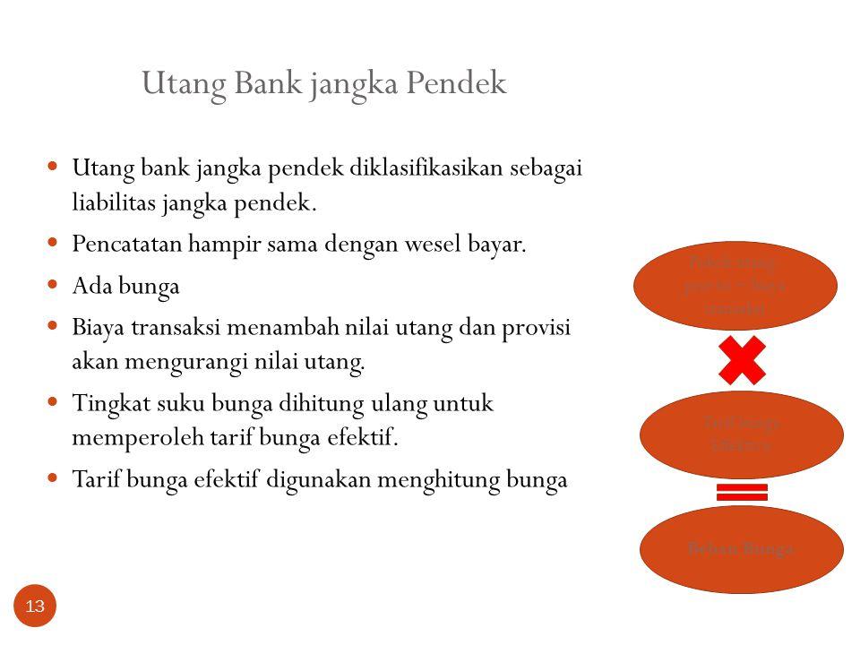 Utang Bank jangka Pendek 13 Utang bank jangka pendek diklasifikasikan sebagai liabilitas jangka pendek. Pencatatan hampir sama dengan wesel bayar. Ada