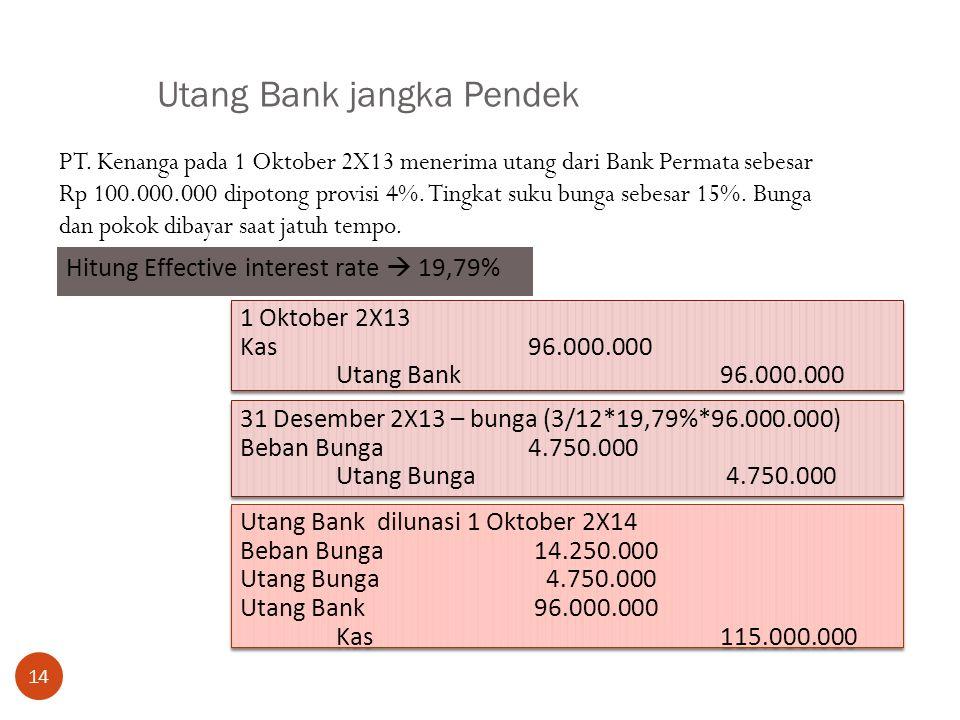 Utang Bank jangka Pendek 14 PT. Kenanga pada 1 Oktober 2X13 menerima utang dari Bank Permata sebesar Rp 100.000.000 dipotong provisi 4%. Tingkat suku