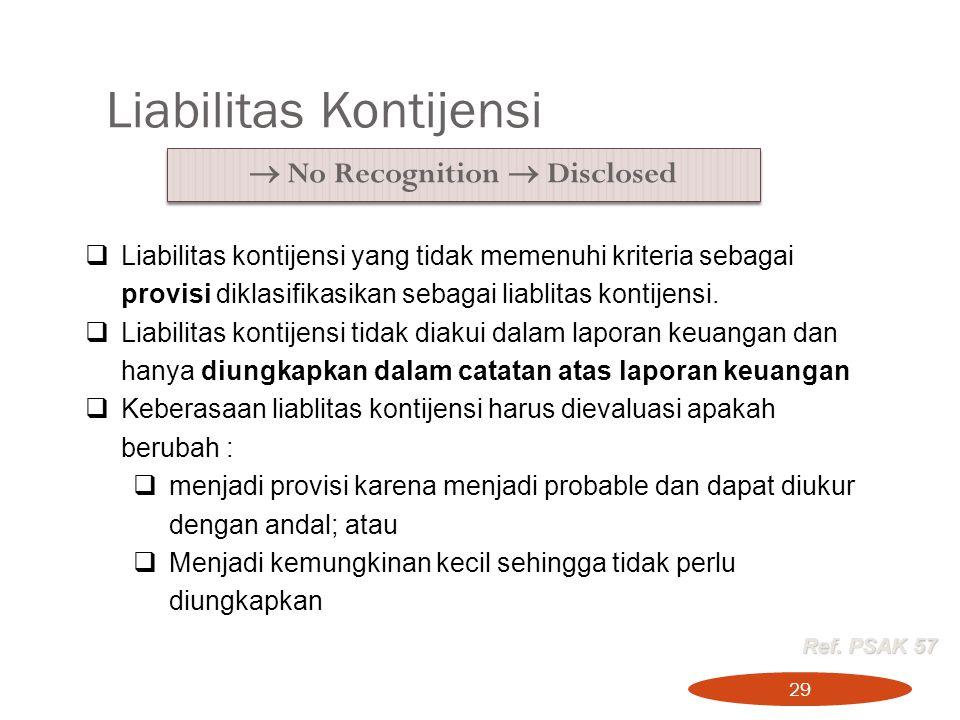 Liabilitas Kontijensi 29  No Recognition  Disclosed  Liabilitas kontijensi yang tidak memenuhi kriteria sebagai provisi diklasifikasikan sebagai li