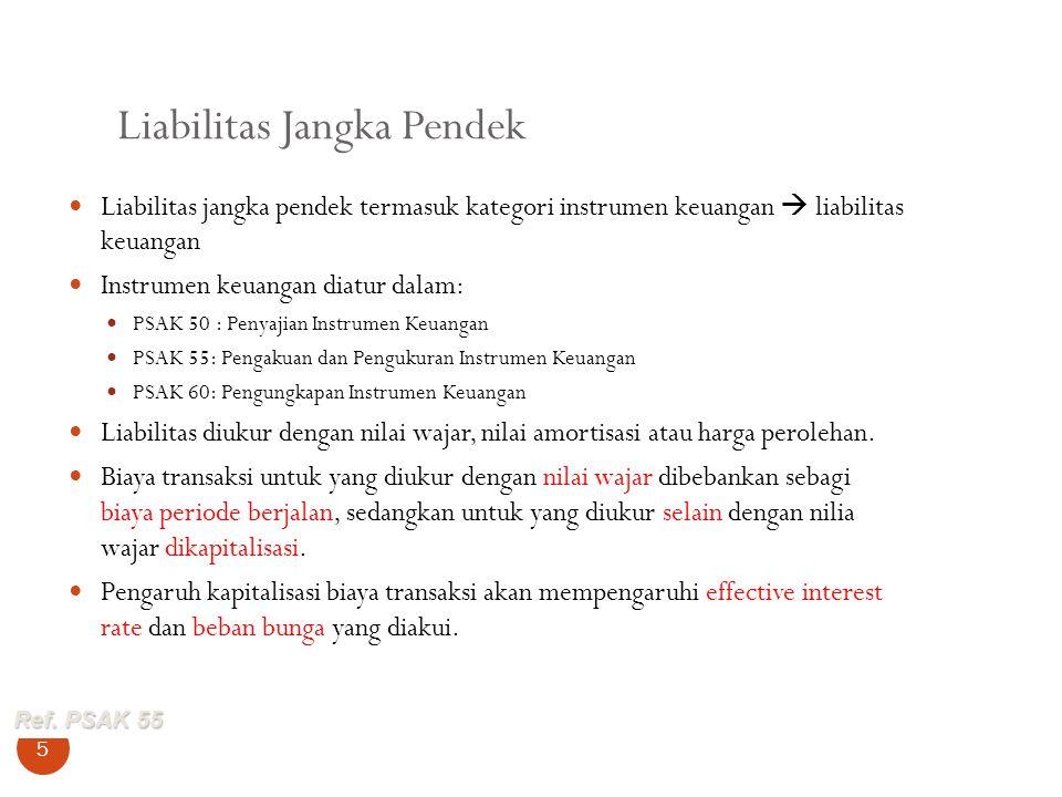 Liabilitas Jangka Pendek 5 Liabilitas jangka pendek termasuk kategori instrumen keuangan  liabilitas keuangan Instrumen keuangan diatur dalam: PSAK 5