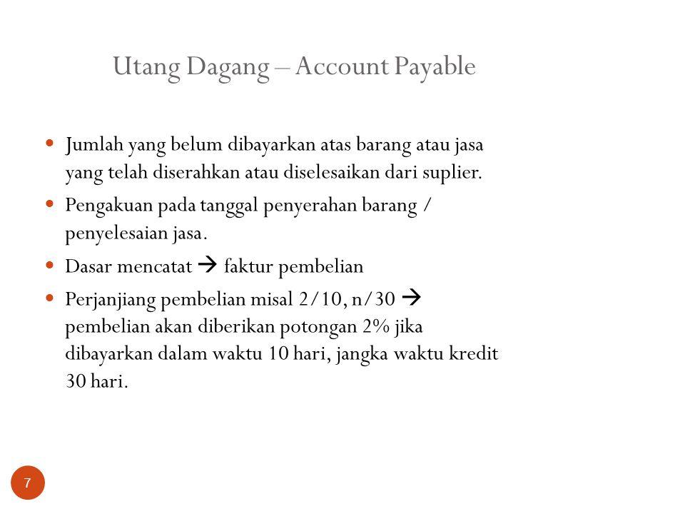 Utang Dagang – Account Payable 7 Jumlah yang belum dibayarkan atas barang atau jasa yang telah diserahkan atau diselesaikan dari suplier. Pengakuan pa