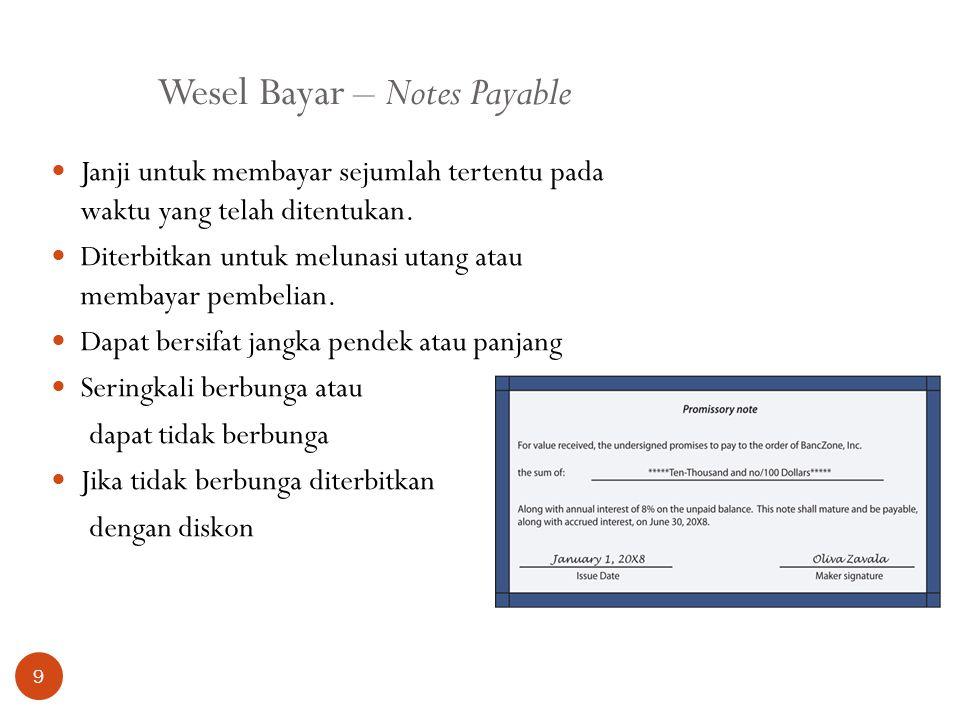 Wesel Bayar – Notes Payable 9 Janji untuk membayar sejumlah tertentu pada waktu yang telah ditentukan. Diterbitkan untuk melunasi utang atau membayar