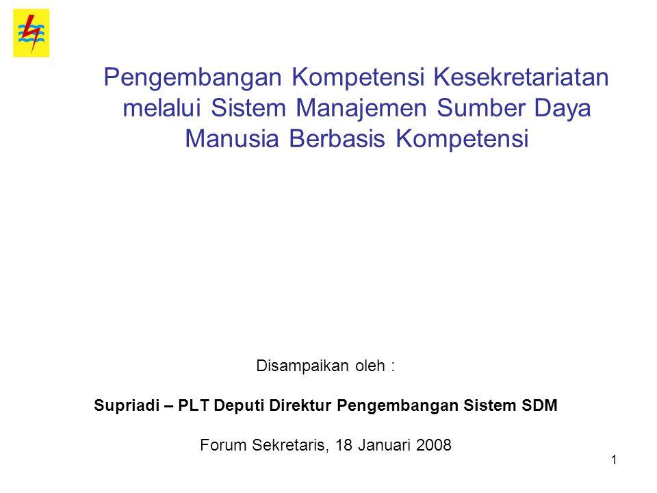 1 Pengembangan Kompetensi Kesekretariatan melalui Sistem Manajemen Sumber Daya Manusia Berbasis Kompetensi Disampaikan oleh : Supriadi – PLT Deputi Di