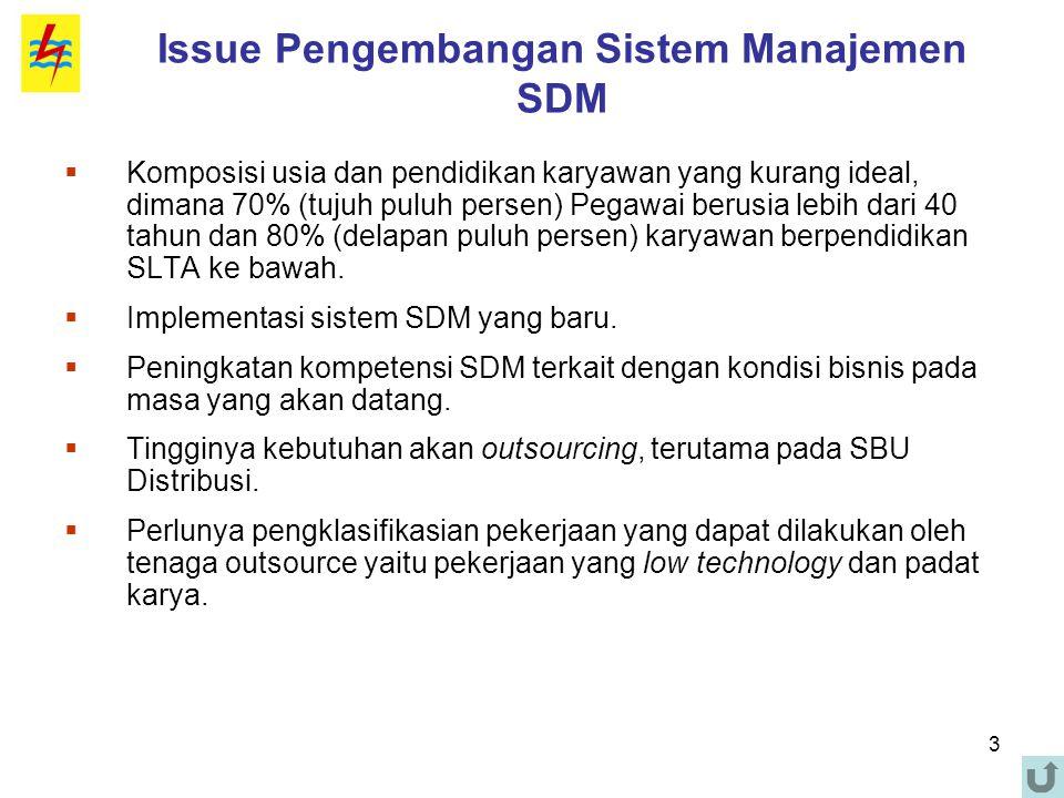 3 Issue Pengembangan Sistem Manajemen SDM  Komposisi usia dan pendidikan karyawan yang kurang ideal, dimana 70% (tujuh puluh persen) Pegawai berusia