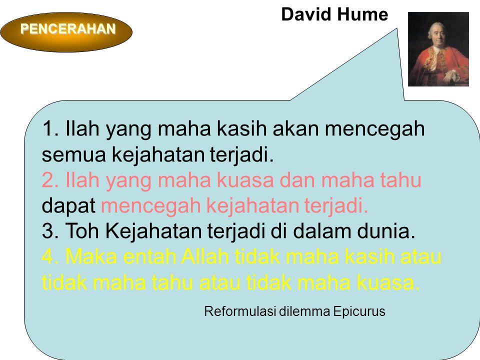 David Hume 1. Ilah yang maha kasih akan mencegah semua kejahatan terjadi.