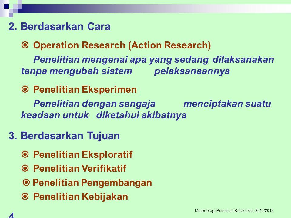 4.Berdasarkan Bidang Ilmu  Penelitian Ekonomi  Penelitian Sosial, dst 5.