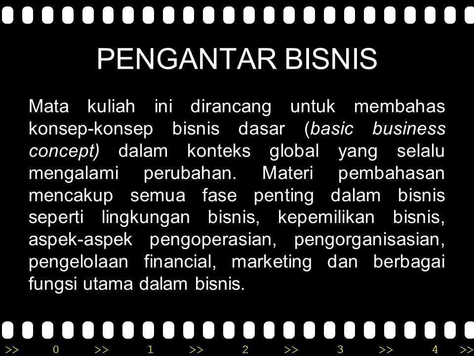 >>0 >>1 >> 2 >> 3 >> 4 >> PENGANTAR BISNIS Mata kuliah ini dirancang untuk membahas konsep-konsep bisnis dasar (basic business concept) dalam konteks global yang selalu mengalami perubahan.